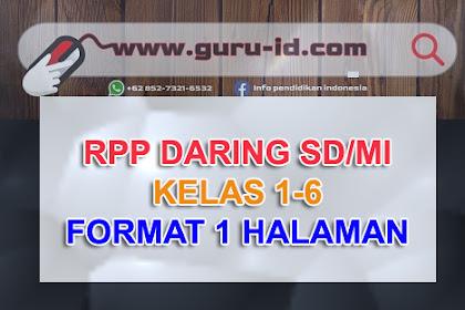 RPP Daring Kelas 1 2 3 4 5 6 Semester Ganjil dan genap Format Selembar