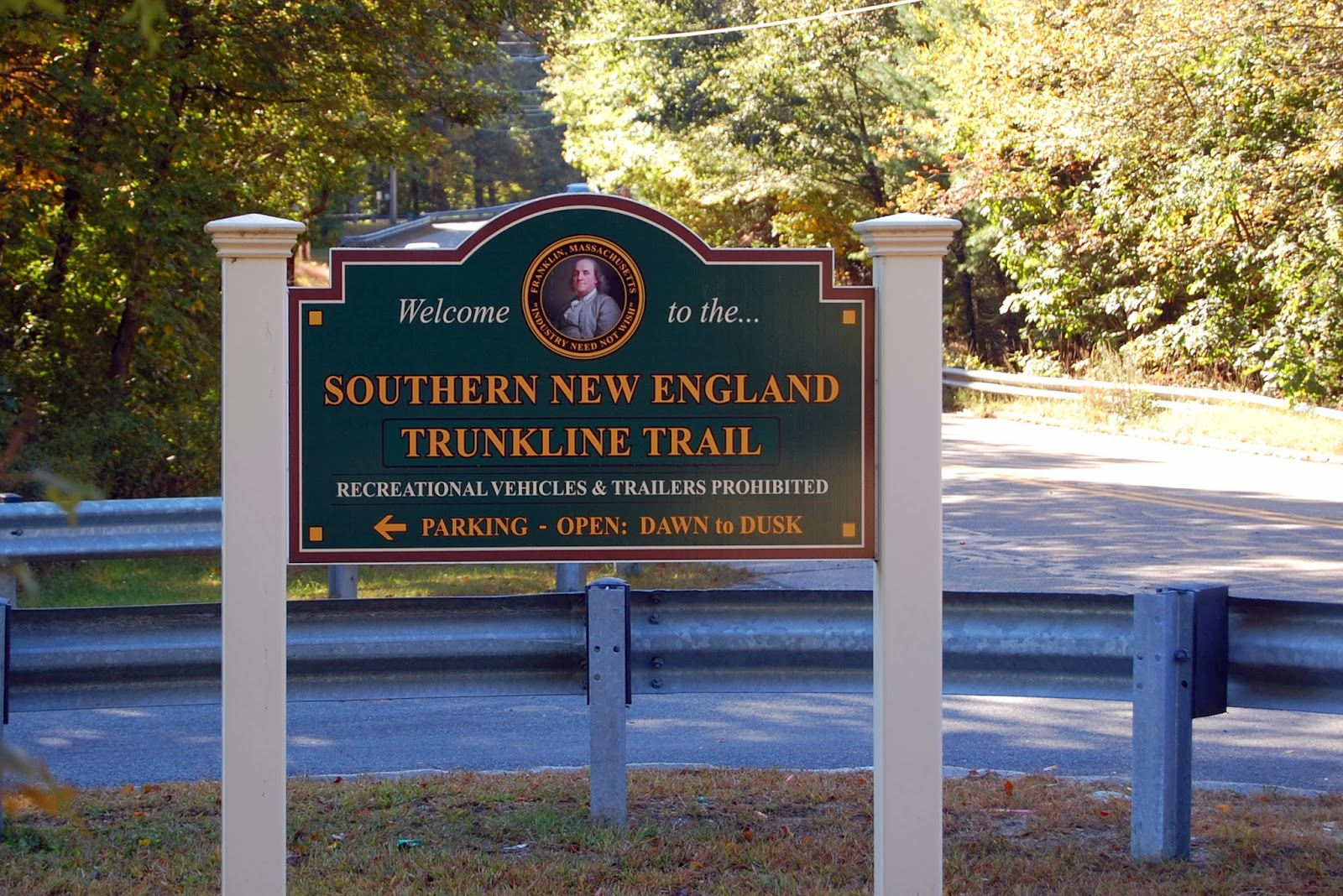 Franklin's rail trail sign on Grove St
