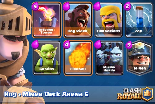 Strategi Deck Hog Miner Clash Royale Arena 6 7 8 9