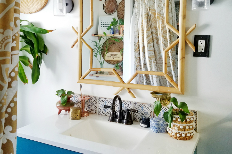 Plant Filled Boho Bathroom - Designed By The Boho Abode