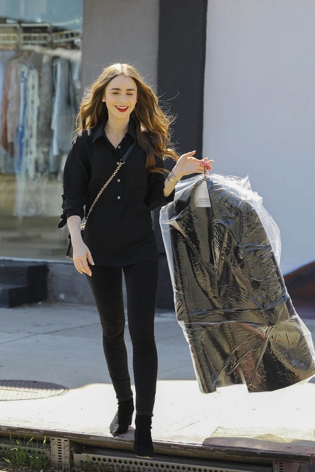 Lily Collins Clicks- a Trip to the Dry Cleaners in West ...