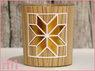 Stampin' Up! rosa Mädchen Kulmbach: Stamp A(r)ttack Blog Hop (7 auf einen Streich): Deko - Teelichthalter in Holzoptik mit Weihnachtsquilt