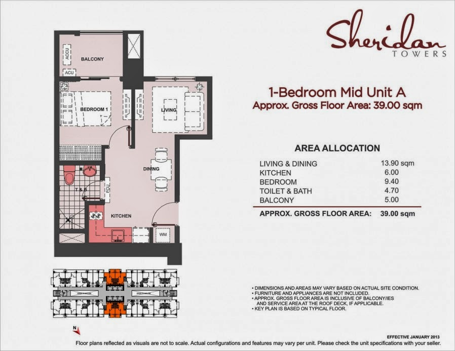 Sheridan Towers  1-Bedroom Unit-A 39.00 sqm