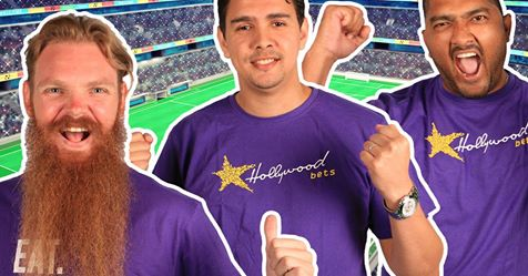 Podcast team wearing Hollywoodbets shirts - Jason Dewey, Chadley Nagel, Donovan Vere