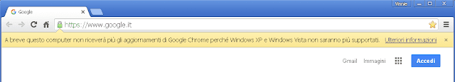 Chrome notifica A breve questo computer non riceverà più gli aggiornamenti