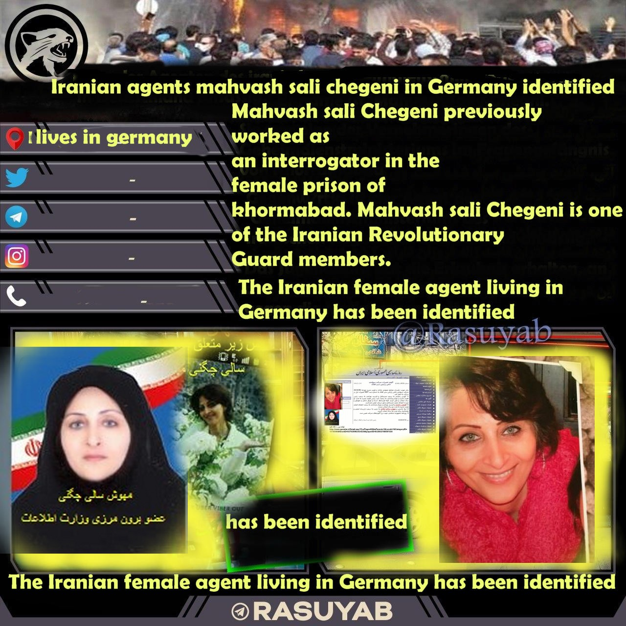The Iranian female agent living in Germany has been identified. lives in germany