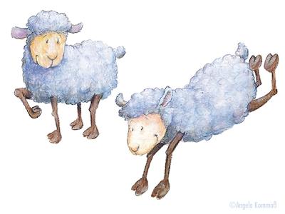 Kinderbuchillustration, Schäfchen, Schäfchenwolken