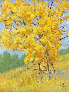 landscape painting tree autumn impressionist acrylic yellow