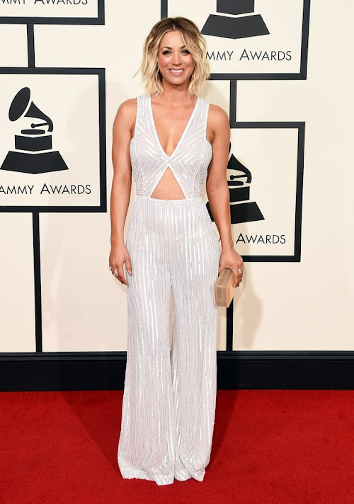 Kaley Cuoco from the 2016 Grammys red carpet