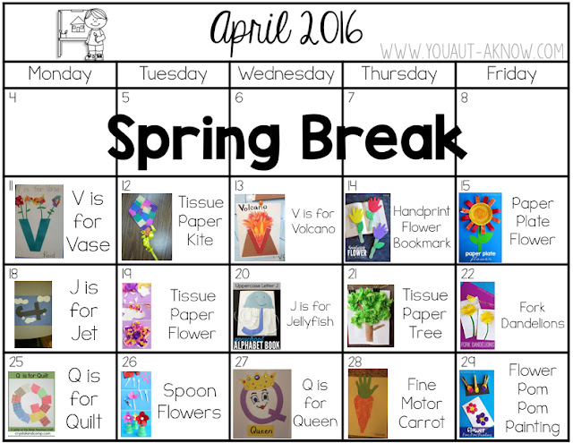 April Art Plans for a Special Education classroom. April's focus is on the letters V, J, and Q as well as gardening and plants.