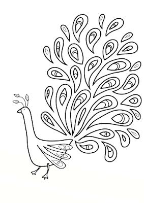 Gambar Mewarnai Burung Merak - 3