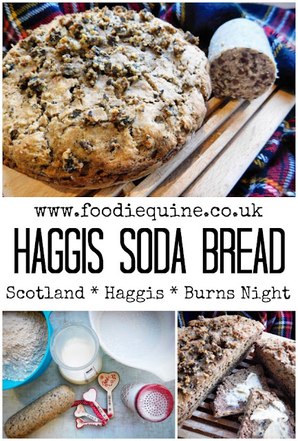 www.foodiequine.co.uk Irish Soda Bread with a Scottish Twist. Traditional or Vegetarian Haggis brings a Celtic connection to this quick and easy bread. No kneading, proving or yeast required in this fuss free bake.
