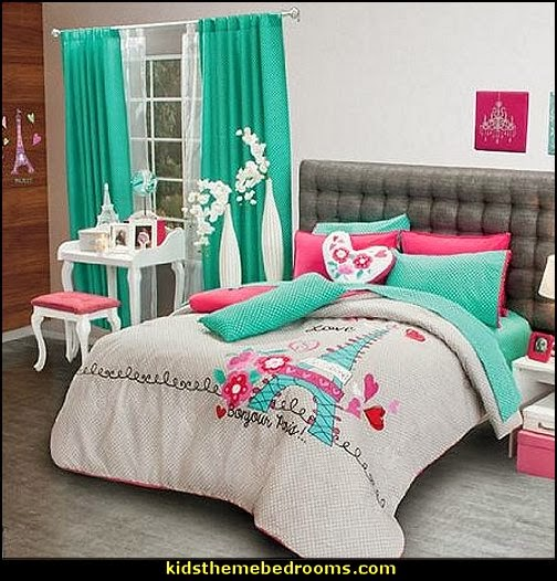 Paris themed bedroom ideas - Paris style decorating ideas - Paris themed bedding - Paris style Pink Poodles bedroom decorating -  French theme Paris apartment furniture - Paris bedroom decor - decor Paris style French Poodles - room decor french poodle - Paris Postcard bedding - Paris themed teenage bedroom ideas - Paris eiffel tower decor - decorating ideas for paris themed bedrooms