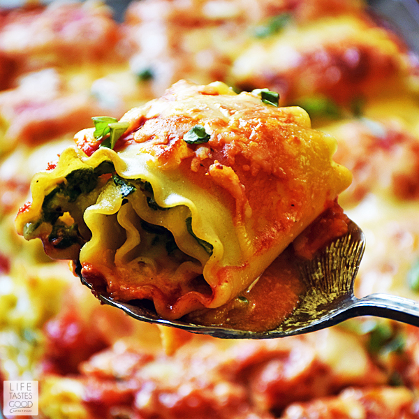 Madison's Shrimp Lasagna Rolls lightens up what is traditionally a heavier dish and gives you a portion controlled serving of the traditional Italian classic lasagna recipe. This easy recipe uses fresh ingredients to maximize flavor and is a real crowd pleaser! #LTGrecipes #SundaySupper