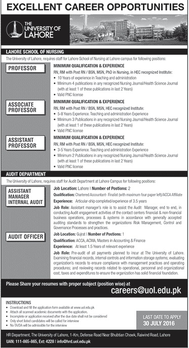 Latest Jobs in Pakistan The University of Lahore Jobs