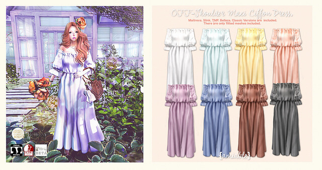 {amiable}Off-shoulder Maxi Chiffon Dress@N°21 March round(50%OFF SALE).