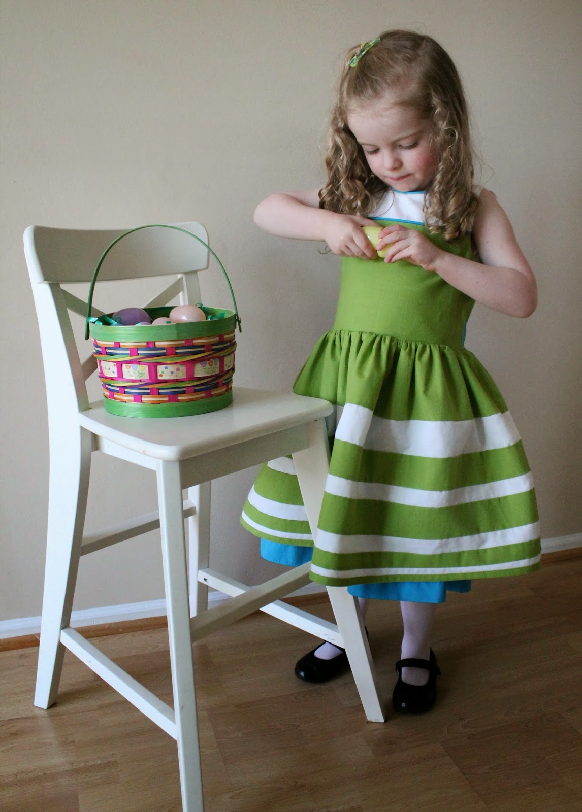 "Child's Easter dress & cardi sewn as solution to Project Run & Play Season 9's Week 3 ""Design Your Own Fabric"" Challenge. 