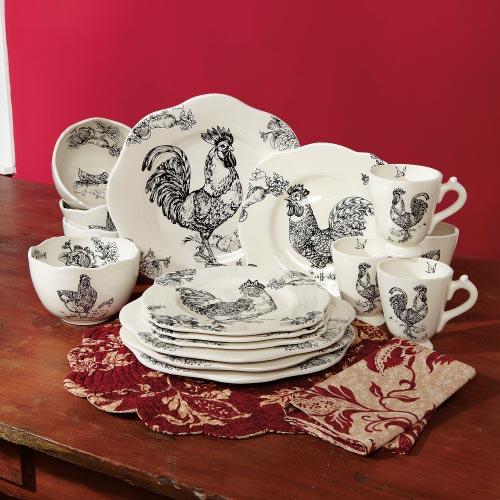 GAFunkyFarmhouse: Wish List Wednesdays: Rooster Toile Dinnerware
