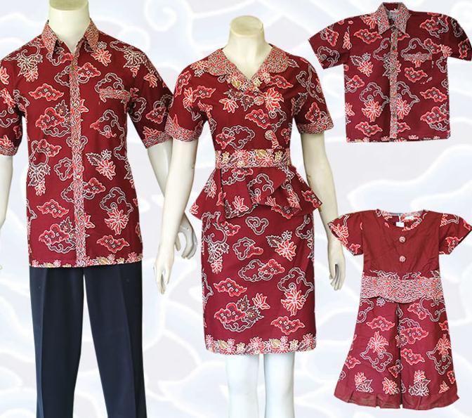 Model Baju Batik Terbaru Kerja Kombinasi Keluarga Muslim: Model Baju Batik Sarimbit Untuk Pakaian Seragam Keluarga