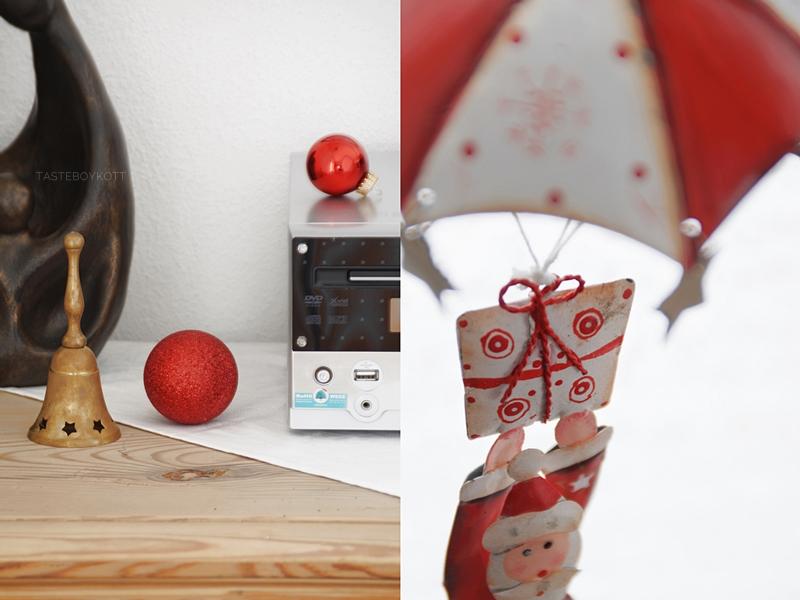 Weihnachtsdeko in rot-weiß, traditionell, klassisch, modern. Weihnachtskugeln dekoriert, Weihnachtsmann Deko.