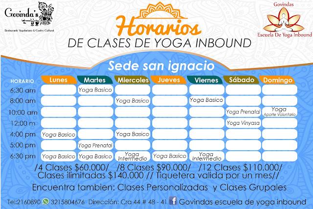 Yoga, Horarios, programación,salud, Meditación.