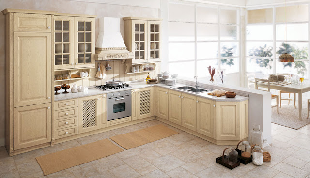 beige timeless kitchen cabinets with glass doors