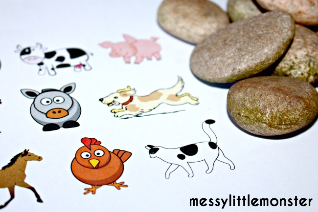Free printable farm animals for story stones