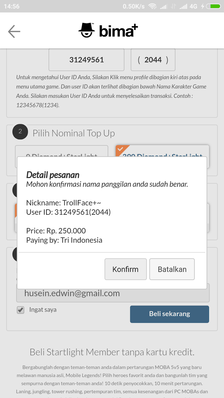 Cara Top Up Diamond Dan Starlight Ml Via Bima Pakai Pulsa Tri Irumira