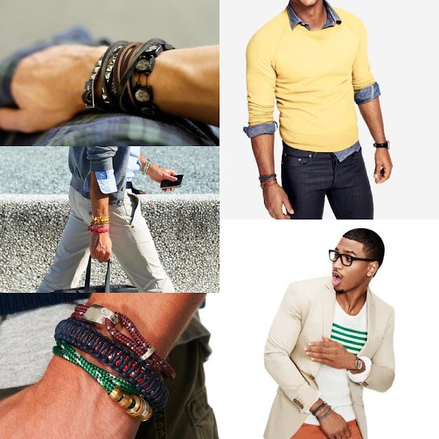 Look Masculino com pulseiras para homens magros