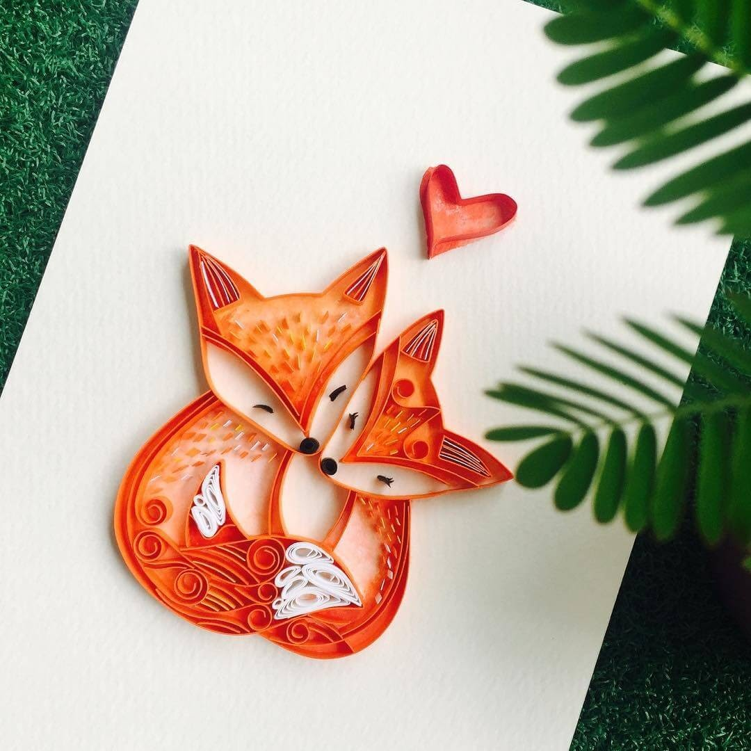 10-Red-Foxes-Wing-Paper-Quilling-Art-Designs-www-designstack-co