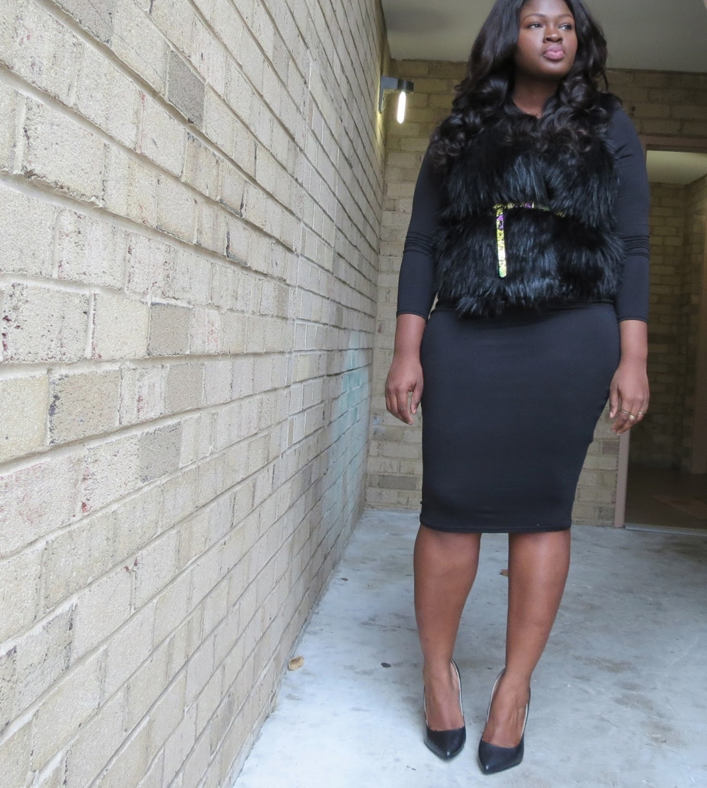 black midi dress fur jacket plus size