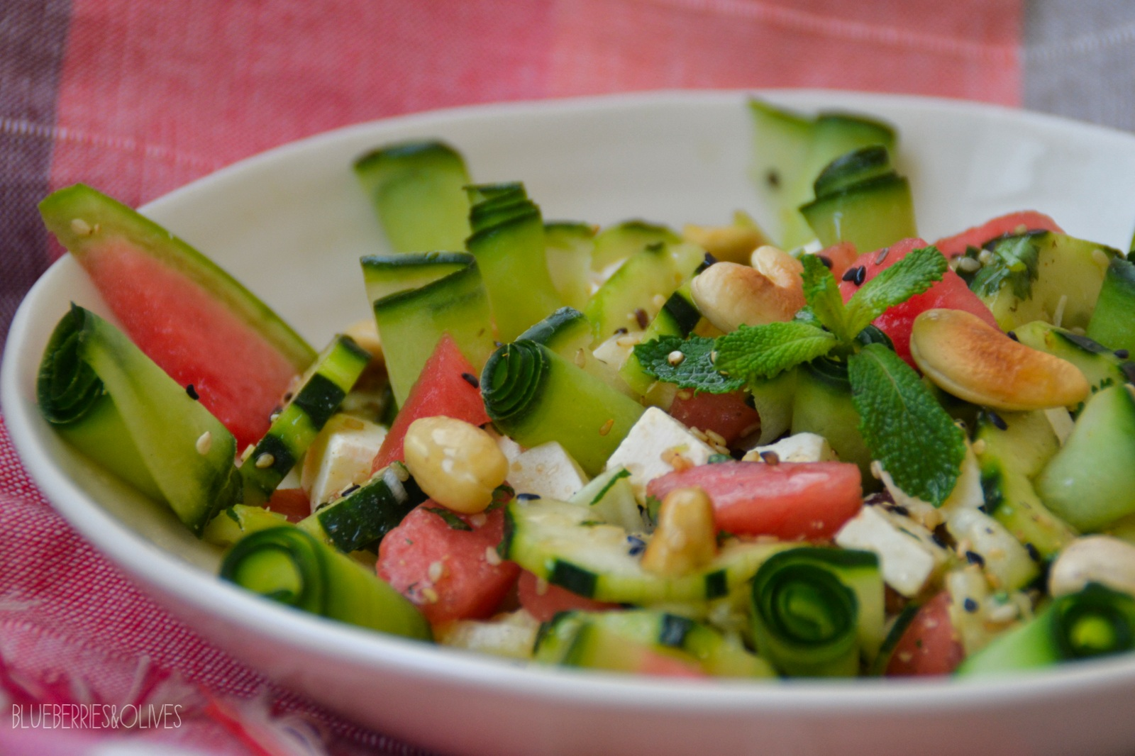 CUCUMBER AND WATERMELON SALAD WITH ASIAN DRESSING