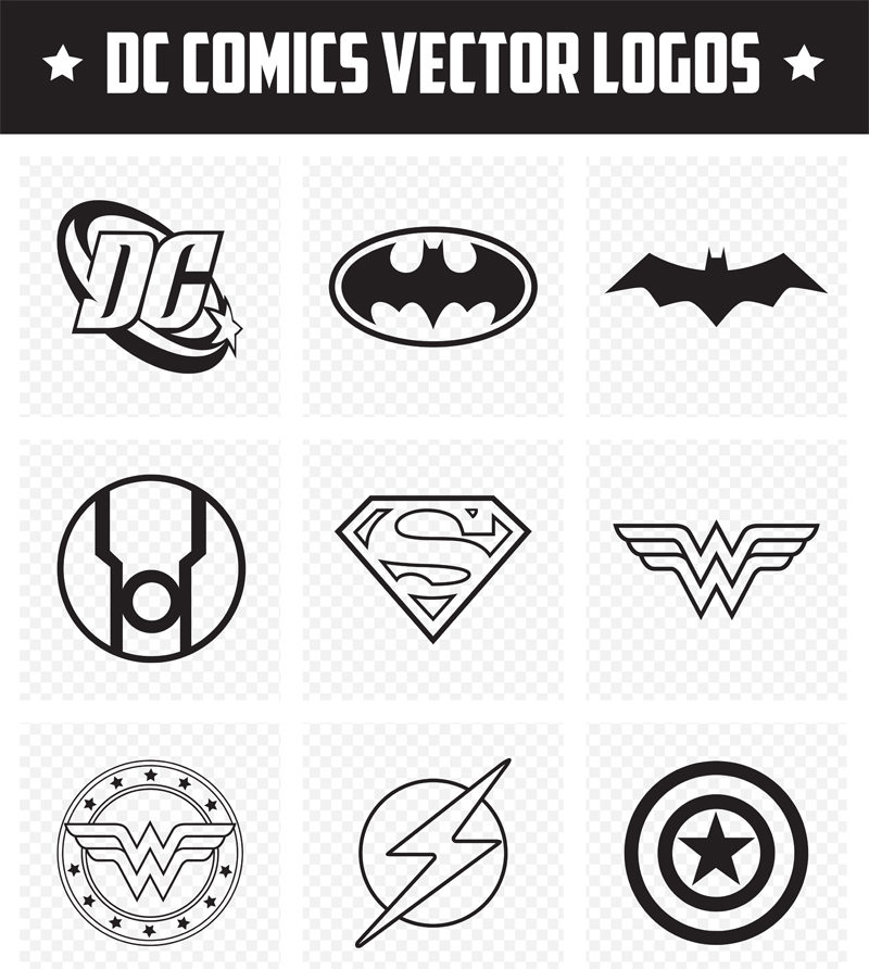 This Free Comic Book Designs Icon Pack Created By Vandelay Design Includes A Cool Collection Of DC Superhero Logos In Vector Format