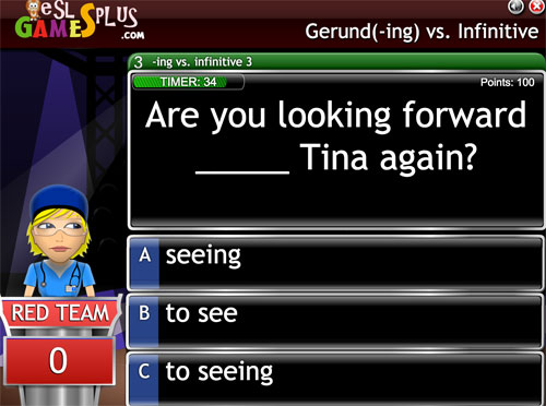 Online game about using the gerund and infinitive