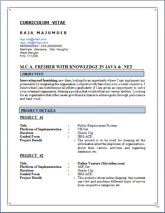 fresher resume format for mca student blog co sample of with knowledge in java fresher resume format for mca