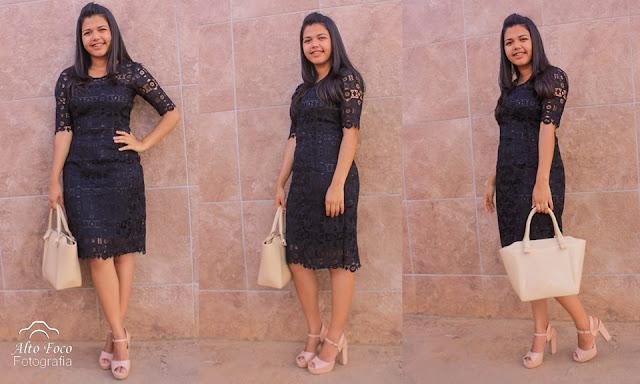Vestido preto de renda guipir
