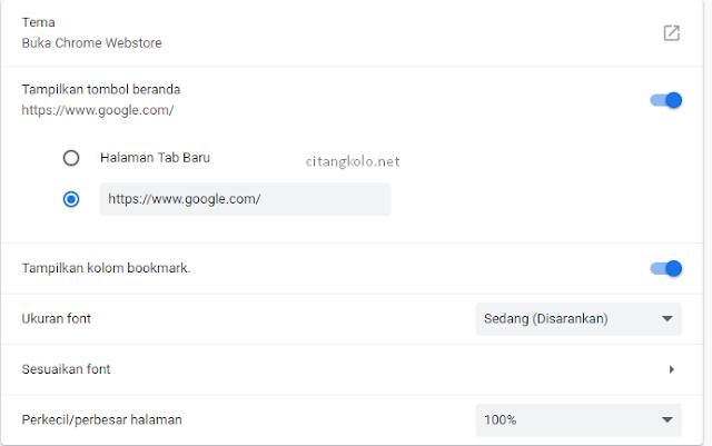 Mengatur Tampilan Chrome