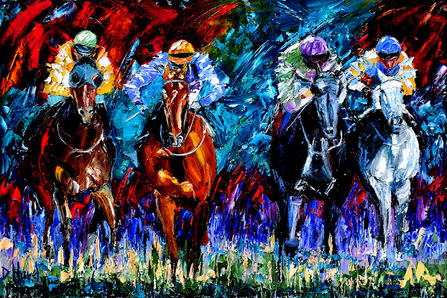 Horse Race Art Painting Colorful Paintings Oil on Canvas By Debra Hurd