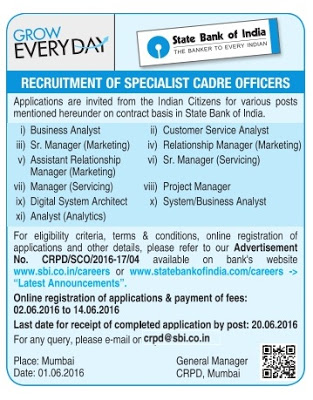 State Bank of India (SBI) Recruitment 2016 - 19 Specialist Officer Posts