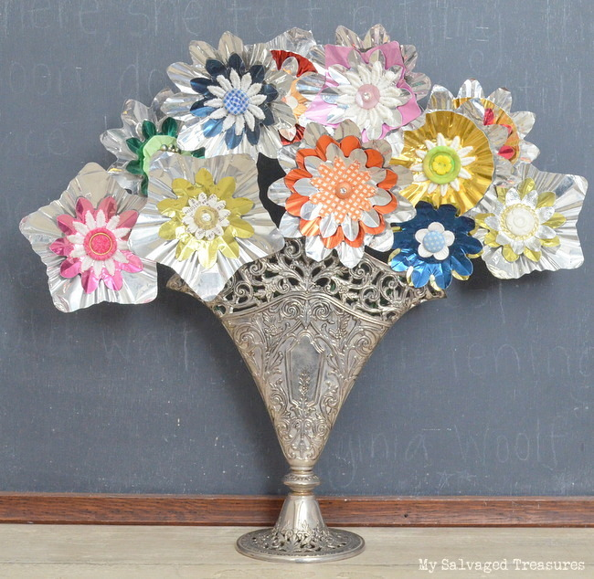 flowers made from aluminum tree light reflectors