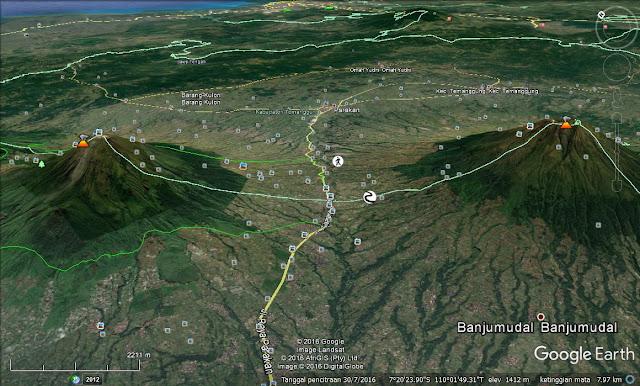 Screen capture Pelana Kledung di Google Earth.
