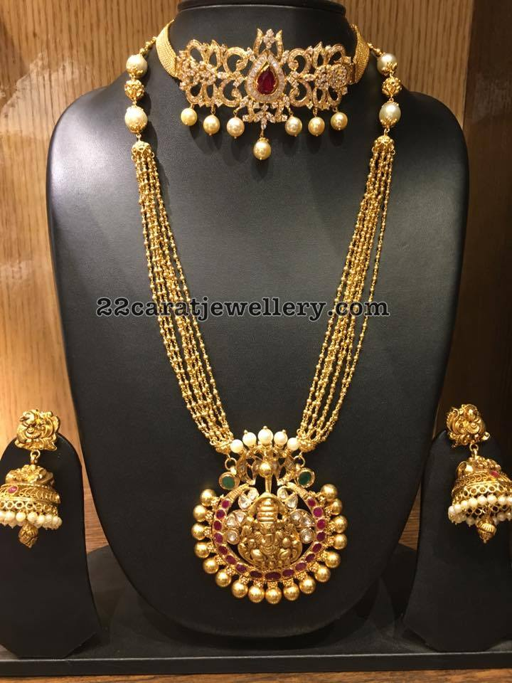 Small Gold Swirls Long Chain Jewellery Designs