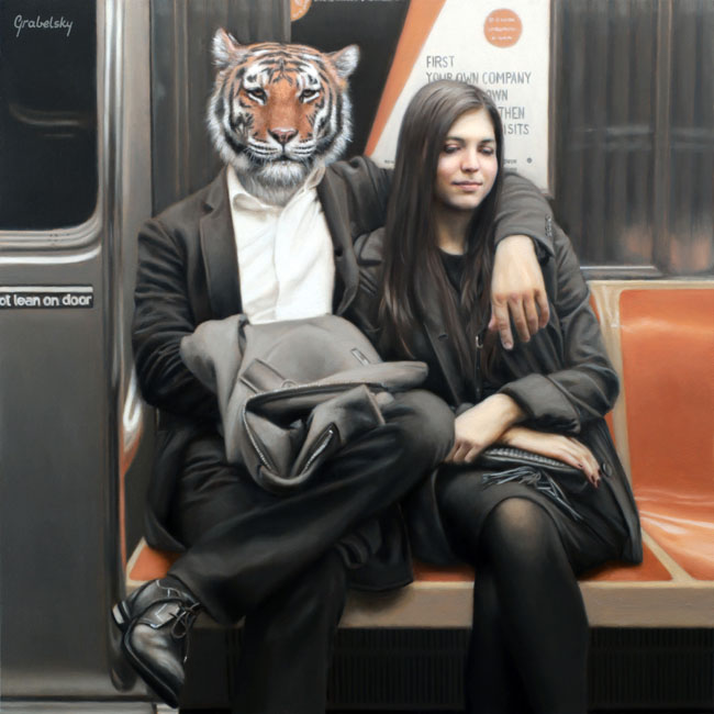 07-1-To-Penn-Station-Tiger-Matthew-Grabelsky-Paintings-of-Animal-Human-Hybrids-on-the-Subway-www-designstack-co