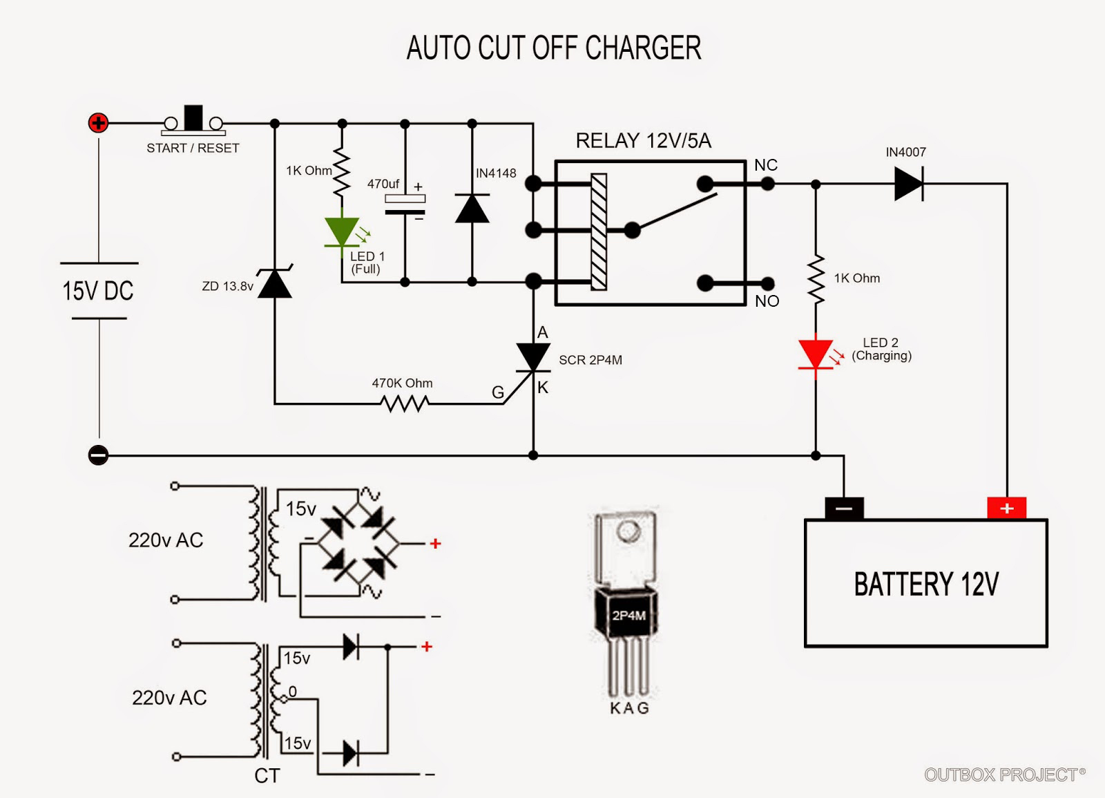Automatic 12v Car Battery Charger Circuit Diagram 2006 Ford F150 Radio Wiring Outbox Project Membuat Aki Otomatis Auto Cut