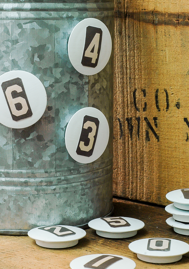 Dollar tree vintage inspired number magnets