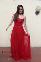 Actress Sana Khan Latest Pos in Georgius Spicy Red Long Dress at the Interview  0008.jpg