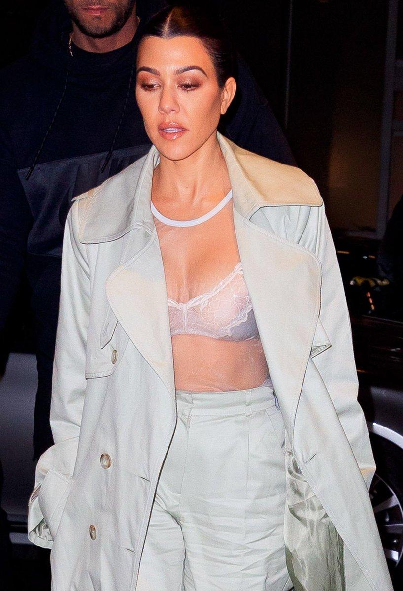 Kourtney Kardashian flashes nipples in sheer top in NYC