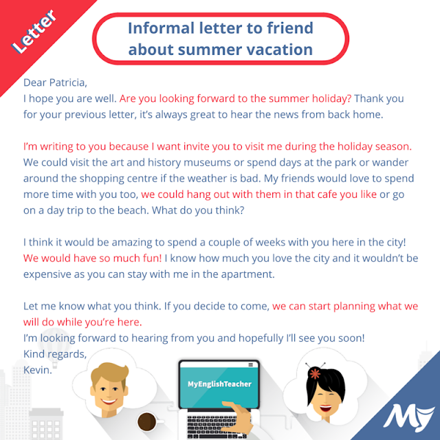 informal letter during school holiday
