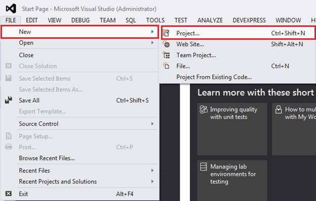 Open Visual Studio and Create New Project