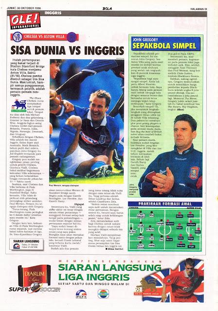ENGLISH PREMIERSHIP 1998 CHELSEA VS ASTON VILLA